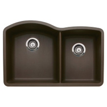 "Blanco Diamond 440177 Undermount 33"" x 22"" Double Bowl Silgranit Kitchen Sink - Cafe Brown"