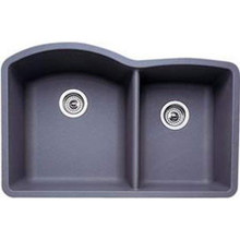 "Blanco Diamond 440178 Undermount 33"" x 22"" Double Bowl Silgranit Kitchen Sink - Metallic Gray"