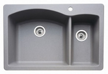 "Blanco Diamond 440198 Drop In or Undermount 33"" x 22"" Double Bowl Single Hole Silgranit Kitchen Sink - Metallic Gray"