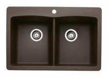 "Blanco Diamond 440218 Drop In or Undermount 33"" x 22"" Double Bowl Single Hole Silgranit Kitchen Sink - Cafe Brown"