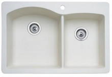 "Blanco Diamond 440217 Drop In or Undermount 33"" x 22"" Double Bowl Single Hole Silgranit Kitchen Sink - Biscuit"