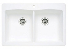 "Blanco Diamond 440221 Drop In or Undermount 33"" x 22"" Double Bowl Single Hole Silgranit Kitchen Sink - White"