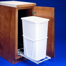 Rev-A-Shelf RV9PBS Sliding Pull Out Cabinet Waste Container with Lid - Frame & Extension Slides - 30 Quart - White