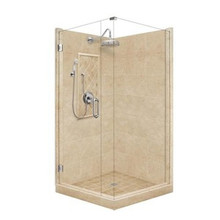 "American Bath P21-3025P 60""L X 36""W Grand Front and Right Threshold Stone Shower Unit & Accessories - Includes Pan, Walls, Glass, and Faucet"