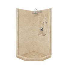 "American Bath P21-2215P 60""L X 34""W Premium Neo Angle Shower Package & Accessories - Includes Pan, Walls, and Faucet"