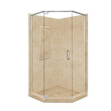 "American Bath P21-2134P 60""L X 48""W Supreme Neo Angle Shower Package & Accessories - Includes Pan, Walls, and Glass"