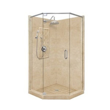 "American Bath P21-2015P 60""L X 34""W Grand Neo Angle Shower Unit & Accessories - Includes Pan, Walls, Glass, and Faucet"