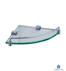 Fresca FAC0448 Corner Glass Shelf with Railing - Chrome