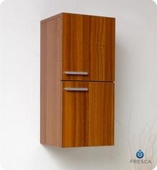 "Fresca FST8091TK 12'' Bathroom Linen Side Cabinet 27.5"" H X 12.63"" W X 12"" L W/ 2 Storage Areas  - Teak"