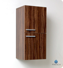 "Fresca FST8091GW 12'' Bathroom Linen Side Cabinet 27.5"" H X 12.63"" W X 12"" L W/ 2 Storage Areas  - Walnut"