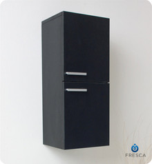 "Fresca FST8091BW 12'' Bathroom Linen Side Cabinet 27.5"" H X 12.63"" W X 12"" L W/ 2 Storage Areas  - Black"