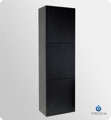 "Fresca FST8090BW 18'' Bathroom Linen Cabinet 59"" H X 17.75"" W X 12"" L W/ 3 Large Storage Areas  - Black"