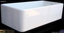 """Whitehaus WH3618 White 36"""" Duet Reversible Fireclay Farmhouse Kitchen Sink - Smooth Front Apron  - White"""