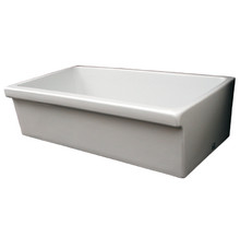 Whitehaus WHQ536 36'' Quatro Alcove Reversible Fireclay Farmhouse Kitchen Sink - White
