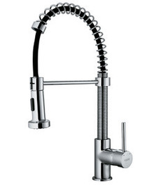 Vigo VG02001ST Modern Single Handle Pull out Spiral Spring Spout Kitchen Faucet - Stainless Steel