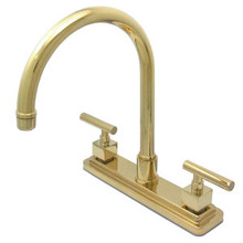 Kingston Brass Two Handle Widespread Kitchen Faucet - Polished Brass KS8792CQLLS
