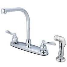 Kingston Brass Two Handle Widespread High-Arch Kitchen Faucet & Side Spray - Polished Chrome
