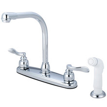 Kingston Brass Two Handle Widespread High-Arch Kitchen Faucet Faucet & White Side Spray - Polished Chrome