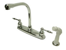 Kingston Brass Two Handle Widespread High-Arch Kitchen Faucet - Polished Chrome