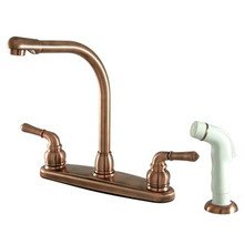 Kingston Brass Two Handle Widespread High Arch Kitchen Faucet & Side Spray - Vintage Copper