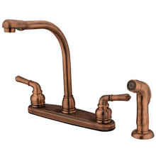 Kingston Brass Two Handle Widespread High Arch Kitchen Faucet & Side Spray - Vintage Copper KB756SP