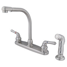Kingston Brass Two Handle Widespread High Arch Kitchen Faucet & Side Spray - Satin Nickel KB758SP