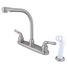 Kingston Brass Two Handle Widespread High Arch Kitchen Faucet & Side Spray - Satin Nickel