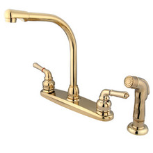 Kingston Brass Two Handle Widespread High Arch Kitchen Faucet & Side Spray - Polished Brass KB752SP