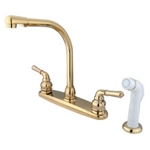 Kingston Brass Two Handle Widespread High Arch Kitchen Faucet & Side Spray - Polished Brass
