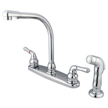 Kingston Brass Two Handle Widespread High Arch Kitchen Faucet & Side Spray - Polished Chrome KB751SP