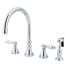 Kingston Brass Two Handle Widespread Deck Mount Kitchen Faucet & Brass Side Spray - Polished Chrome