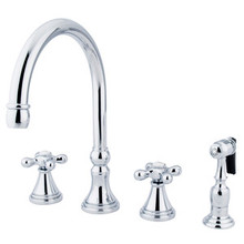 Kingston Brass Two Handle Widespread Deck Mount Kitchen Faucet & Brass Side Spray - Polished Chrome KS2791AXBS