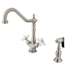 Kingston Brass Two Handle Single Hole Kitchen Faucet & Side Spray - Satin Nickel KS1238PXBS