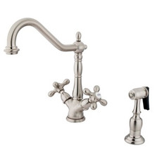 Kingston Brass Two Handle Single Hole Kitchen Faucet & Side Spray - Satin Nickel