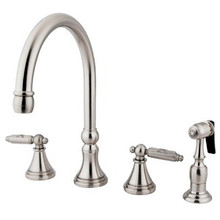 Kingston Brass Two Handle Kitchen Faucet & Side Spray - Satin Nickel