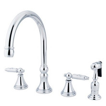 Kingston Brass Two Handle Kitchen Faucet & Side Spray - Polished Chrome