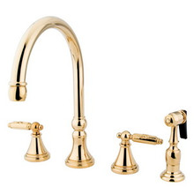 Kingston Brass Two Handle Kitchen Faucet & Side Spray - Polished Brass