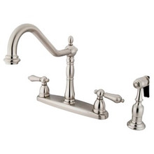 Kingston Brass Two Handle Kitchen Faucet & Brass Side Spray - Satin Nickel KB1758ALBS
