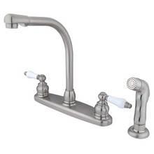 Kingston Brass Two Handle High Arch Kitchen Faucet & Non-Metallic Side Spray - Satin Nickel KB718SP