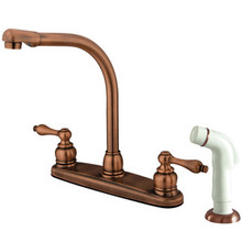 Kingston Brass Two Handle High Arch Kitchen Faucet & Non-Metallic Side Spray - Vintage Copper
