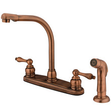 Kingston Brass Two Handle High Arch Kitchen Faucet & Non-Metallic Side Spray - Vintage Copper KB716ALSP