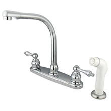 Kingston Brass Two Handle High Arch Kitchen Faucet & Non-Metallic Side Spray - Polished Chrome