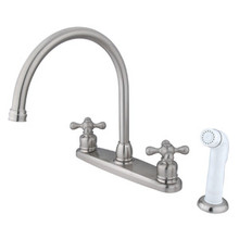 Kingston Brass Two Handle Goose Neck Kitchen Faucet Faucet & White Side Spray - Satin Nickel KB728AX