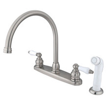Kingston Brass Two Handle Goose Neck Kitchen Faucet Faucet & White Side Spray - Satin Nickel