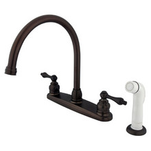 Kingston Brass Two Handle Goose Neck Kitchen Faucet Faucet & White Side Spray - Oil Rubbed Bronze KB725AL
