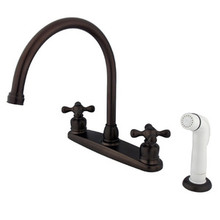 Kingston Brass Two Handle Goose Neck Kitchen Faucet Faucet & White Side Spray - Oil Rubbed Bronze KB725AX
