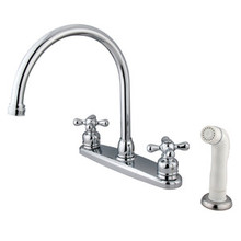 Kingston Brass Two Handle Goose Neck Kitchen Faucet Faucet & White Side Spray - Polished Chrome KB721AX
