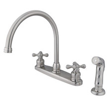 Kingston Brass Two Handle Goose Neck Kitchen Faucet & Side Spray - Satin Nickel