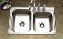 Hamat 33'' x 22'' x 8'' Kitchen Sink Double Bowl - 3 Holes - Stainless Steel