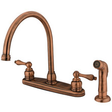 Kingston Brass Two Handle Goose Neck Kitchen Faucet & Non-Metallic Side Spray - Vintage Copper